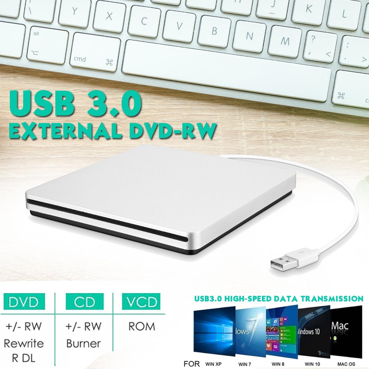 Gravador externo do escritor do queimador do cd/dvd rw do leitor de dvd da movimentação da carga do entalhe de usb 3.0 superdrive para o computador portátil de apple macbook imac/mini pc