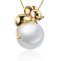 MADALENA SARARA AAA Natural White Freshwater Pearl 18K Mouse Style Pendant Chain Necklace