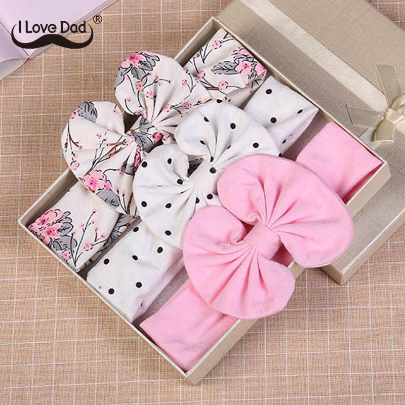 Floral-Bows Headbands Hair-Accessories Bowknot Girls Kids Dot Cotton 3pcs/Set