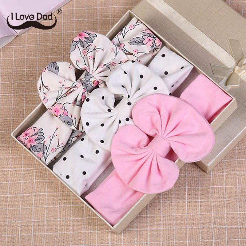 3 Pcs/Set Floral Bows Baby Headband Dot Bowknot Haarband Baby Girl Headbands Cotton Kids Hair Band Girls Hair Accessories(China)