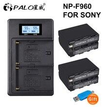 2Pcs 7200mAh NP-F970 NP F960 F970 Power Display Battery +LCD Dual digital camera Charger for SONY F930 F950 F770 F570 CCD-RV100