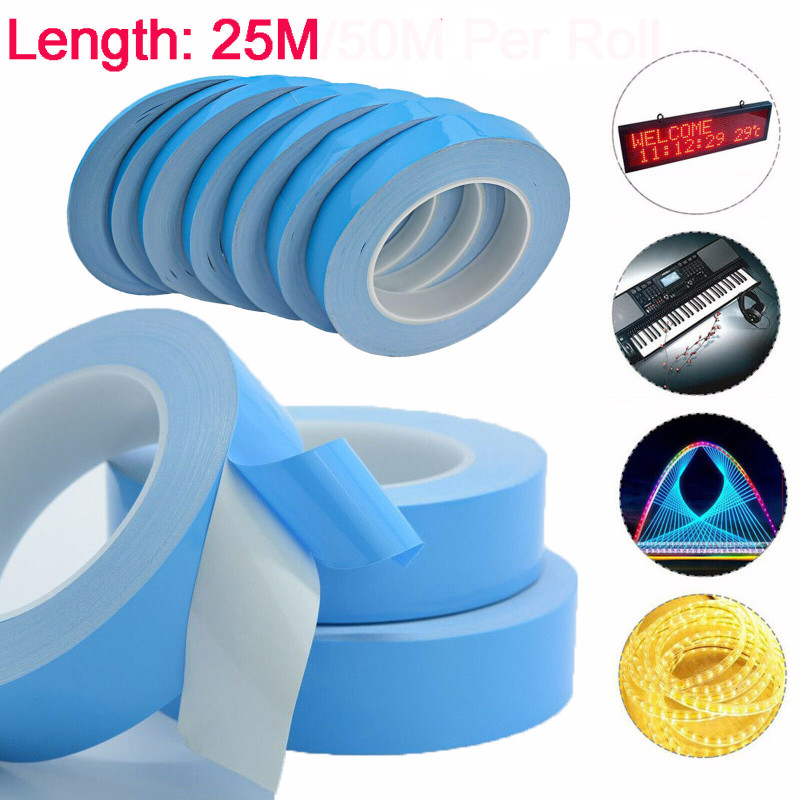 1 Roll 3/5/8/10/12/15/18/20mm Width Double Sided Tape Chip Heat Thermal Conductive Adhesive Tape For PCB CPU Heat Sink Radiating