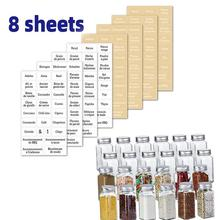 Marking-Stickers Spice-Labels Food-Can Transparent Waterproof French And 8-Sheets 208pieces