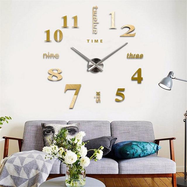 DIY Wall Clock 3D Mirror Clock Creative Acrylic Wall Stickers Living Room Quartz Needle Europe horloge Home Decor Drop shipping 3