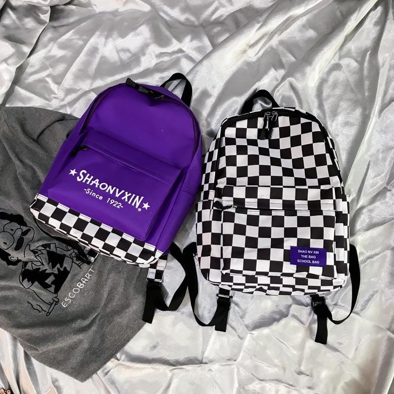 Canvas Backpack Letter School-Shoulder-Bag Plaid Print Travel Harajuku Girls Unisex Casual