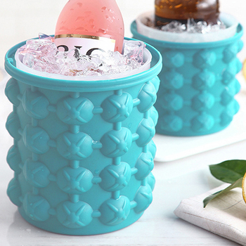 Silicone Ice Cube Maker Bucket Safe Durable Champange Beer Wine Cooling Storage Drink Whiskey Freeze Seaside Tool Kitchen ice cube maker silicone bucket durable drink beer wine rapid cooling storage drinking whiskey freeze seaside tool 4 7 inch