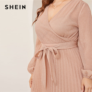 Image 5 - SHEIN プラスサイズ冥衣ネックランタンスリーブプリーツグリマキシドレスの女性の秋ハイウエストラップグラマラスパーティードレス