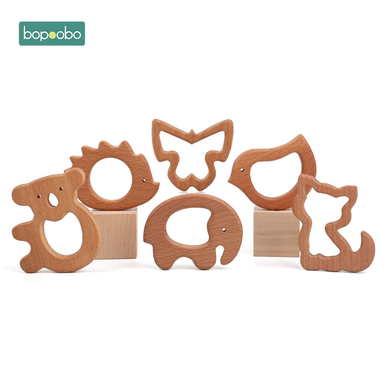 Bopoobo 1PC Wooden Teether Olive Oil Beech Food Grade Animal DIY Pacifier Chain Baby Teether Baby Tiny Rod Rodent Baby Product