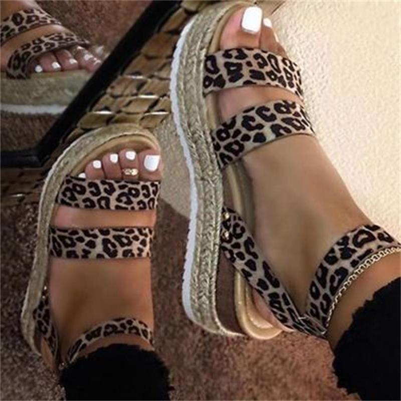 Women Sandals Leopard Retro Hemp Flat Platform Ladies Summer Wedges Shoes Woman Casual Buckle Strap Women's Plus Size Female