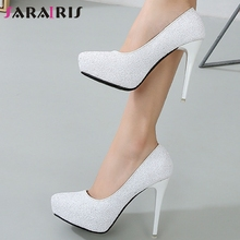 SARAIRIS Lady Casual Handmade Classic Pumps Bling Pumps Women Pointed Toe Shallow Slip On High