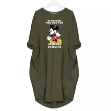 2019 Fashion Dress Women Mickey Cartoon Print Clothes Plus Size Dress Casual Clothing Plus Size Fall Dresses Woman Party Night cartoon print striped night dress