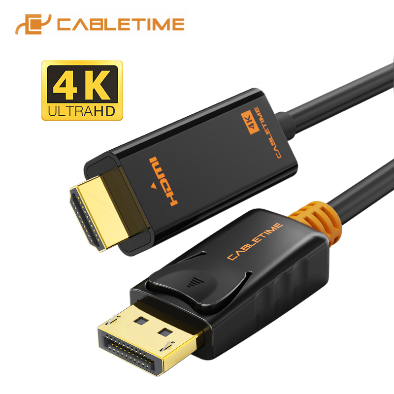 Кабель CABLETIME DisplayPort-HDMI 4K/HD hdmi-кабель DP-HDMI 1080P/4K 60 Гц, конвертер DP 1,2 для проектора HDTV, ноутбука, ПК C072