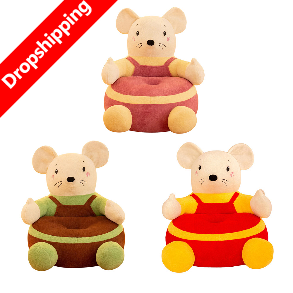 Infant Plush Bean Bag Seats Skin Elaborate Manufacture Prolonged Durable 0-3Y Baby Kids Cartoon Mouse Shaped Chair Cover
