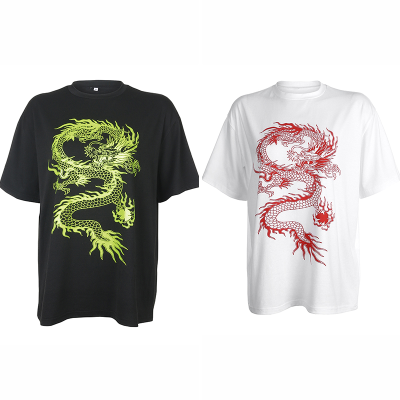 Rockmore Dragon Print T-Shirt Women Plus Size Short Sleeve Casual Streetwear Oversized Long Shirts Basic Tshirts Ladies Summer 5