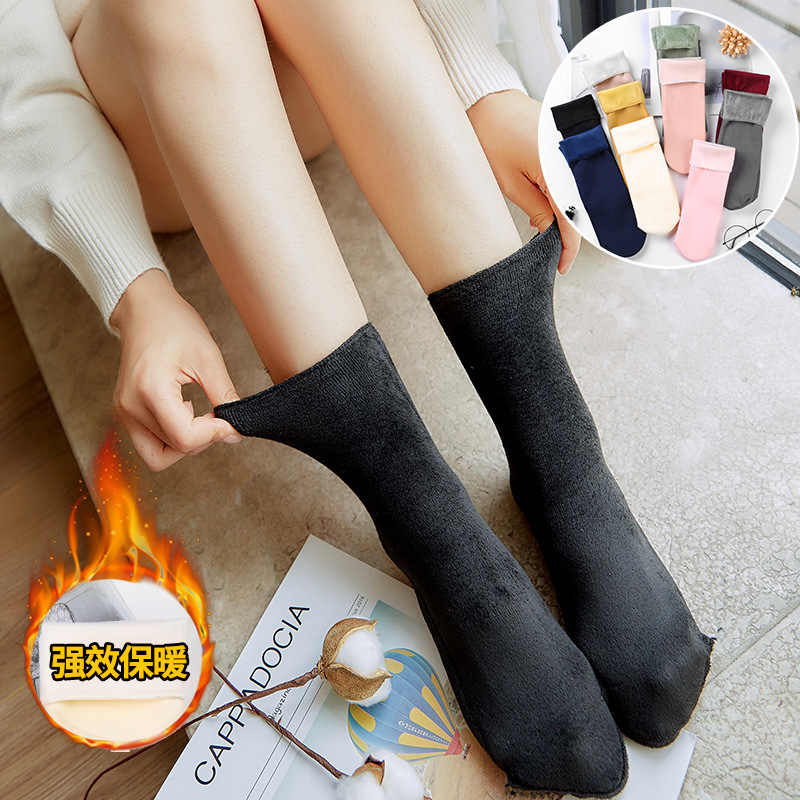 Winter Socks Wool Cashmere Women Thicken Soft Comfortable Thicken Seamless Velvet Boots Snow Winter Socks Calcetines De Invierno