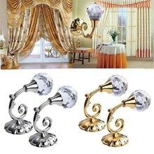 2 uds. Brillan Metal Vintage bola de cristal ganchos para cortinas accesorios Holdback ganchos hebilla colgante decoración para el hogar