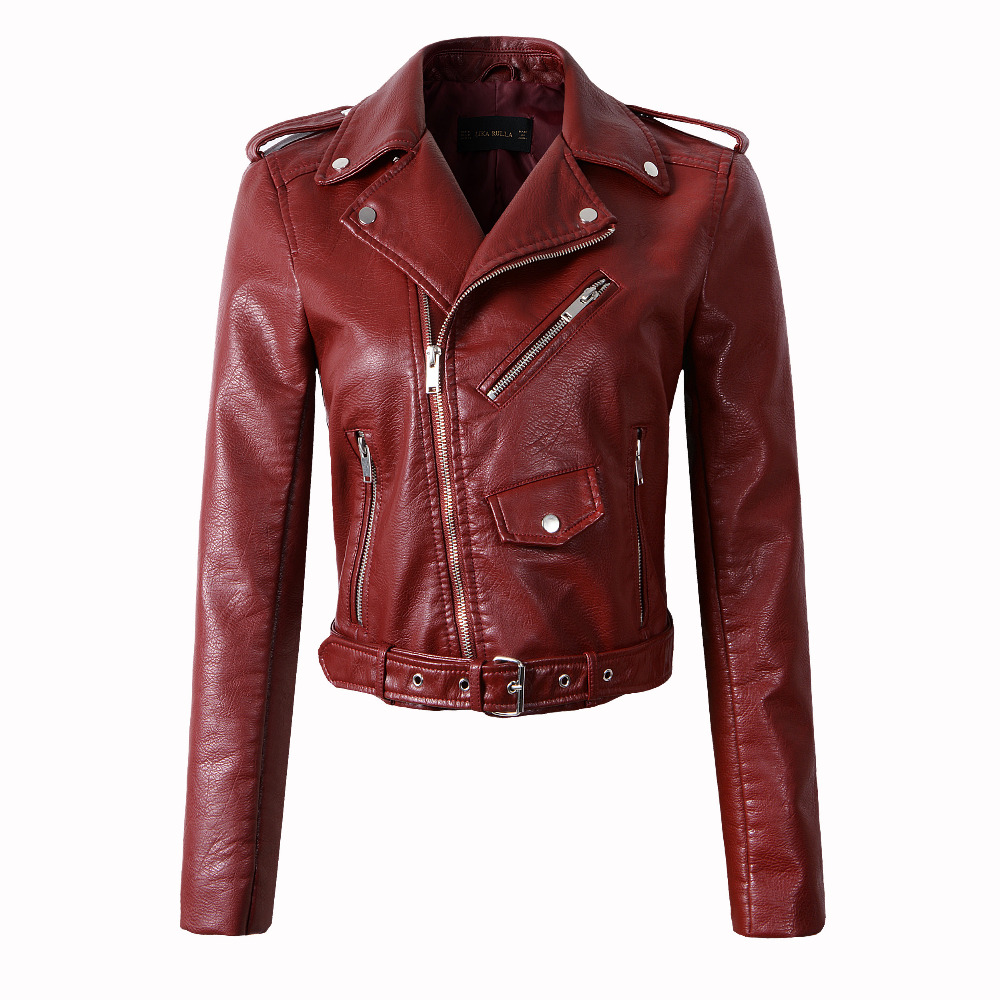 2020 New Fashion Women Autumn Winter Motorcycle Faux   Leather   Jackets Lady Casual Biker PU Zipper Outerwear Coats with Belt XXL
