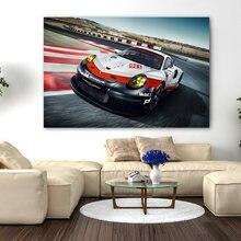 Płótno plakaty i druki Porsche 911 RSR samochód wyścigowy Supercar malarstwo ścienne sztuki na wystrój salonu