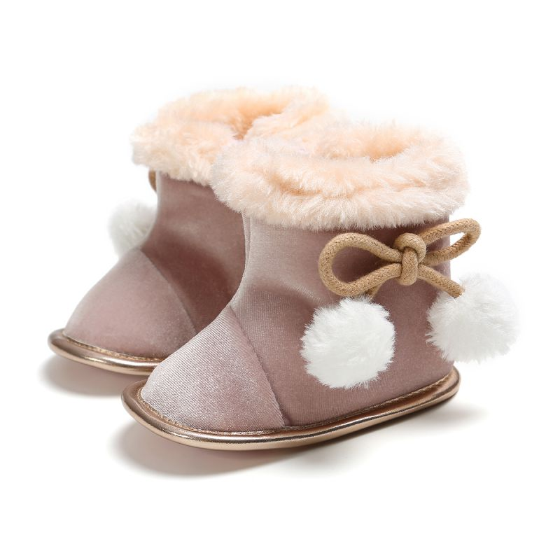 Winter Warm Girls Soft Plush Booties Infant Anti Slip Snow Boots Shoes Warm Cute Infant Snow Baby Girl Boots New Born Baby Shoe