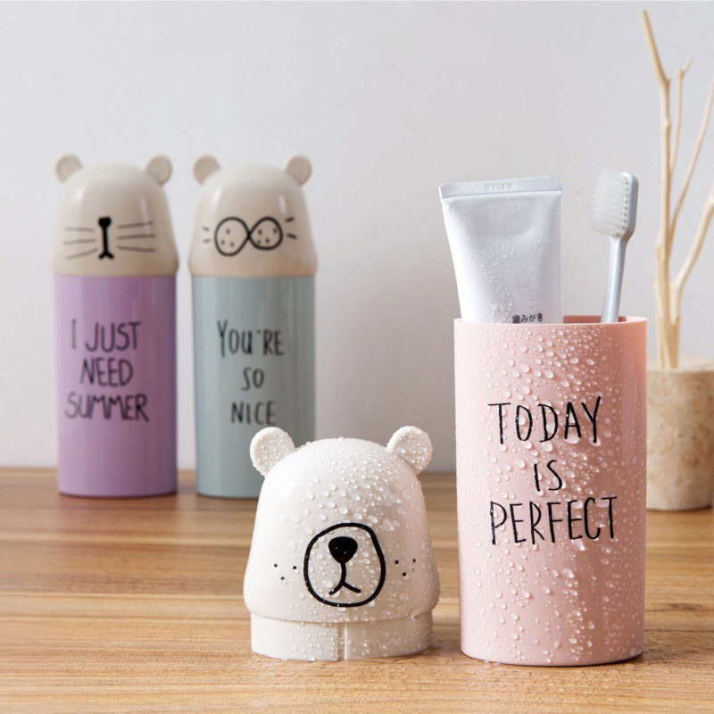 Pig Bear Panda Design Toothbrush Holder Case Plastic Toothpaste Cover Cup HO3