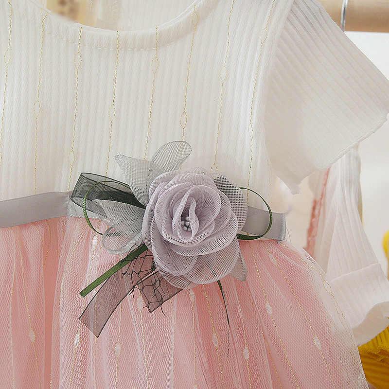 Trẻ Em Mùa Hè Bé Gái Đầm Cotton Dễ Thương Lưới Khâu Đáy Nữ Tay Ngắn Ngọt Đầm Công Chúa Trẻ Em Đầm Dành Cho Bé Gái