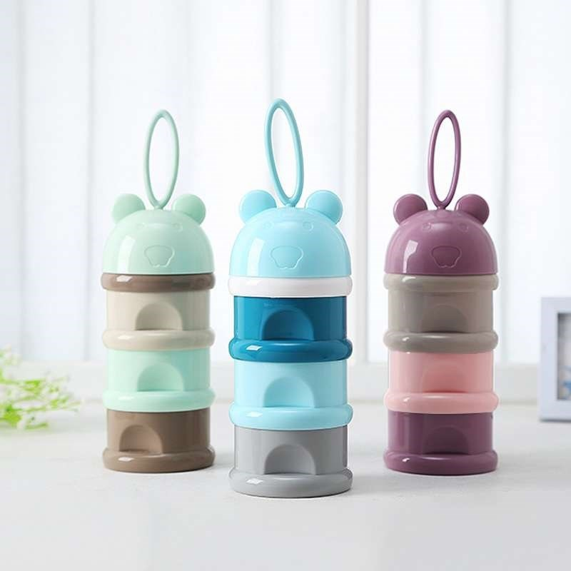 Nursing Portable Baby Clothes Milk Box Three Grid Packing Partition Large-Volume The Baby Points Milk Maker Three Layer Mini