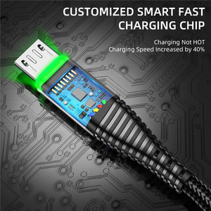 Кабель Micro USB USLION 3A 0,5 м/1 м/2 м для быстрой зарядки и синхронизации данных для Samsung Huawei Xiaomi Note Tablet Android USB Phone