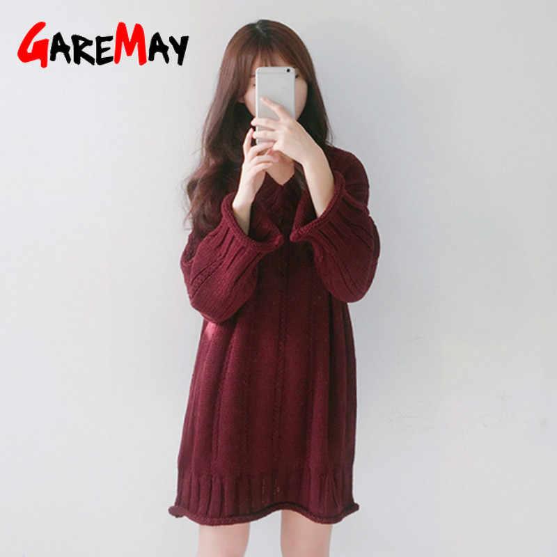 GareMay herfst winter gebreide trui jurk vrouwen warm V-hals sexy losse zwangere maxi plus size vrouwelijke dames lange truien