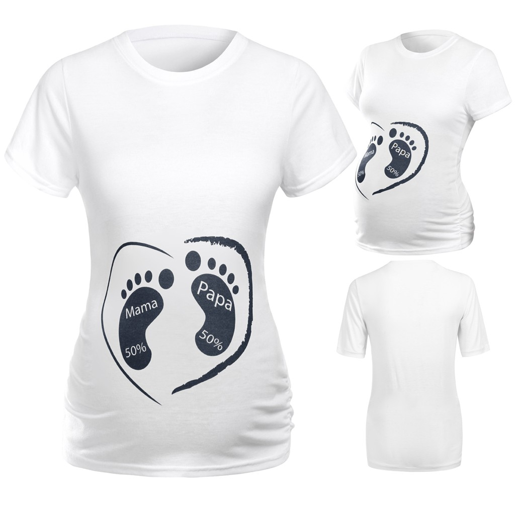 New Blouse Pregnant Women Footprint Tops Summer Maternity Tee Shirt Short Sleeve Cartoon Print Top T-shirt Pregnancy Clothes