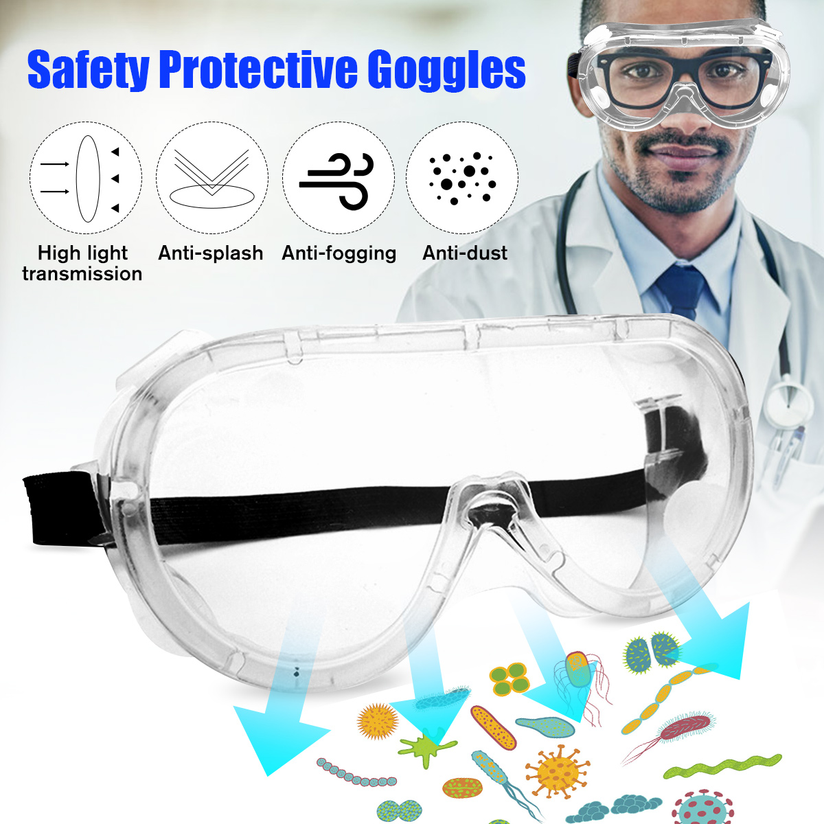 New Safety Protective Goggles Glasses Transparent Lens Goggles Prevent Infection Eye Mask Anti-Fog Splash Goggles