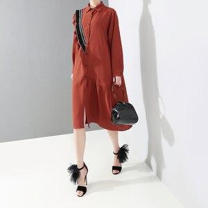 Image 5 - 2019 韓国スタイルの女性レッド秋冬ミディシャツドレスフリル長袖レディースエレガントなプラスサイズルースドレスローブ 4715