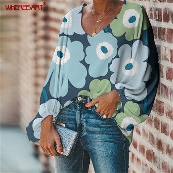 WHEREISART Nordic Flower Poppy Floral Print V-neck Long Sleeve Loose Elegant Women Blouse Boho Style Plus Size Soft Blouse Mujer attractive floral printed v neck long sleeve blouse for women
