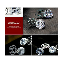 Jewelry Women New Silver Plated Austrian Crystal Roses Bijoux Stud Earrings for Wedding Wholesale Angel Wings(China)