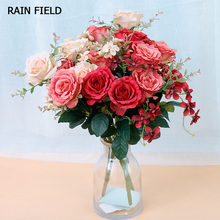 Artificial Flowers Bouquet Rose Silk For Home Wedding Table Decoration Wholesale