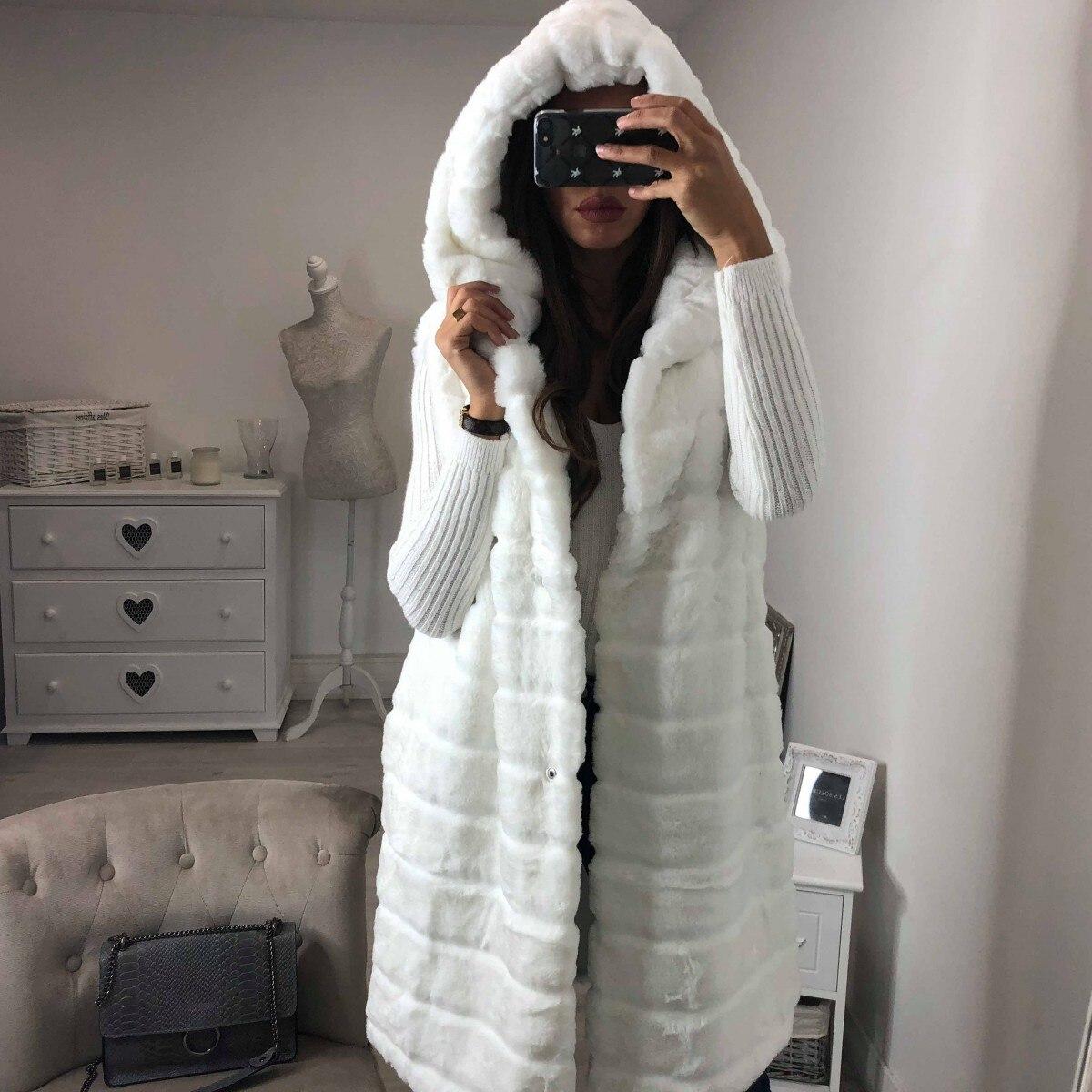 SHUJIN Warm Hooded Faux Fur Fox Vest Women Winter Casual Artifical Fur Warm Coat Super Long Waistcoat Female Faux Furs Vest