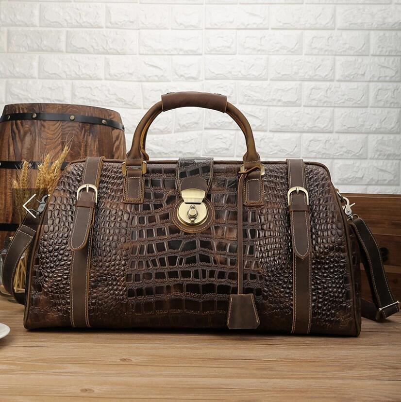 MAHEU 2019 New Arrival Male Crocodile Leather Travel Bag Men Handbag With Shoulder Strap Travelling Bag Luxury Design Alligator