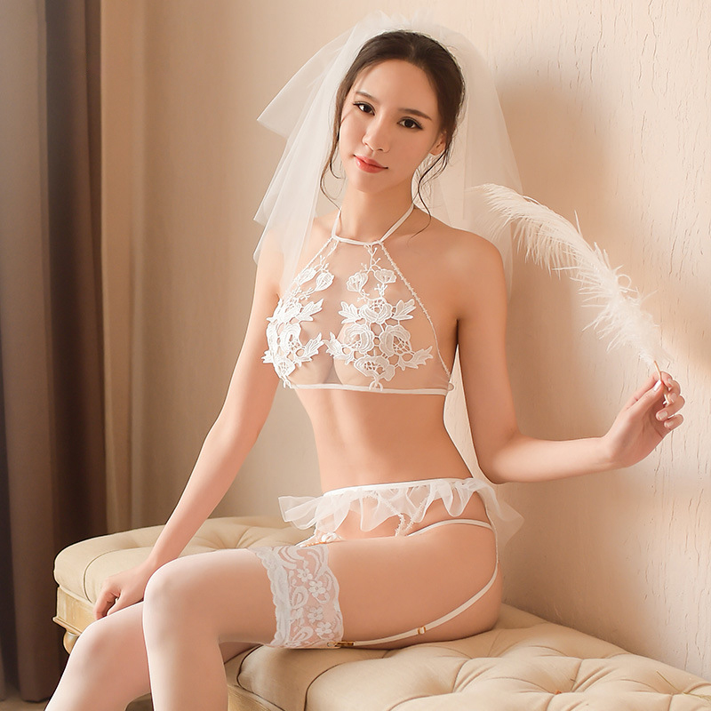 Sexy Romantic Bride Lace Wedding Veil Bridal Gowns Sexy Game Role-playing Transparent Mesh Costume Uniform Temptation Bedroom