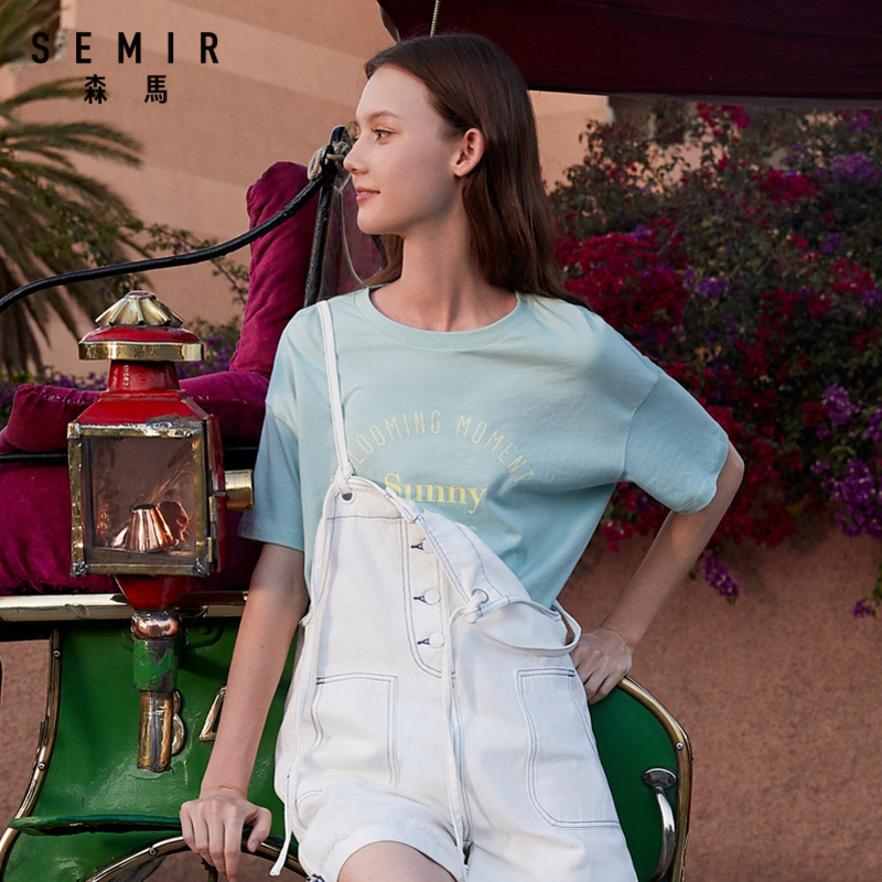 Semir Short-sleeved T-shirt Female 2020 New Summer Tide Ins Loose Print Shirt Student Round Neck Pullover T-shirt