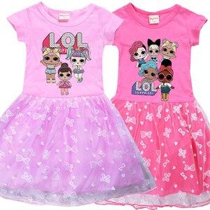 LoL Surprise/Летняя футболка принцессы для девочек с белым сетчатым лоскутным платьем Детские вечерние платья на день рождения, милая одежда с ге...