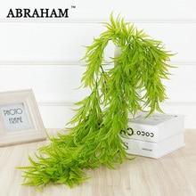 цены 80cm Fake Fern Grass Vine Artificial Plant Leaves Wall Tree Hanging Vivid Vine Plastic Green Rattan for Home Autumn Decoration