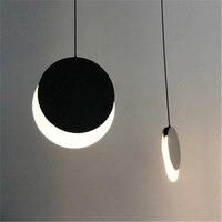 Nordic Moon Eclipse Design Bedroom Bedside Led Chandelier Creative Art Circle Living Room Restaurant Study Kitchen Lights