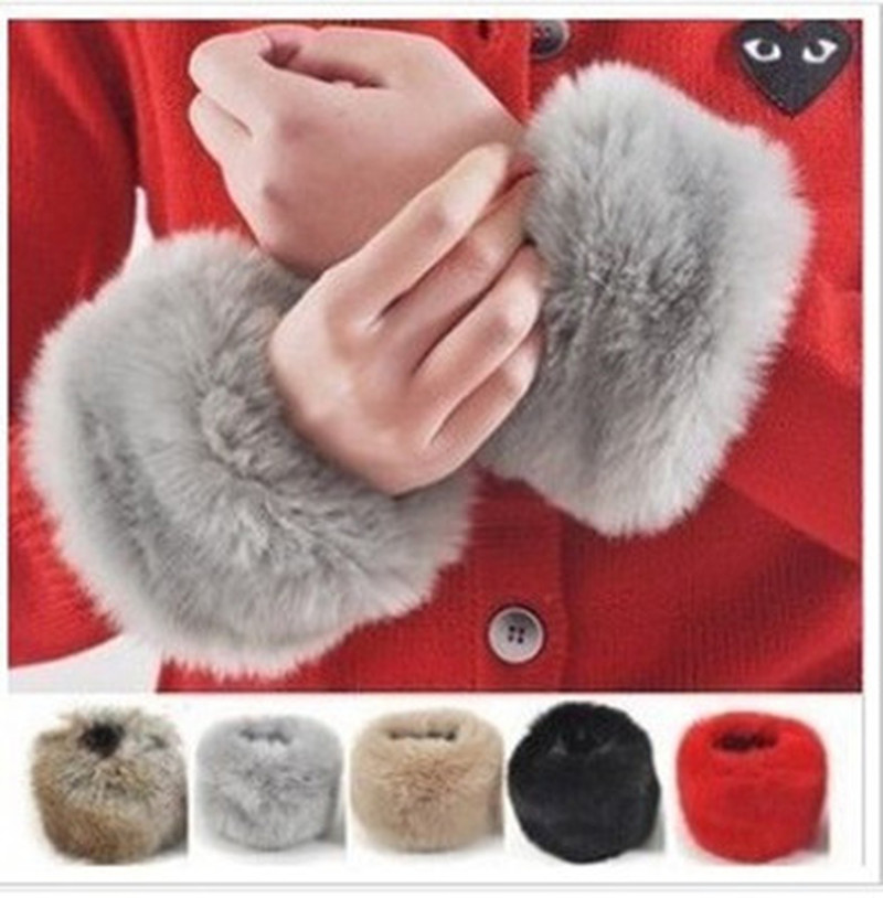 Fashion Winter Warm Women's Faux Fur Wrist Warmer Slap On Cuffs Arm Warmer On Sale