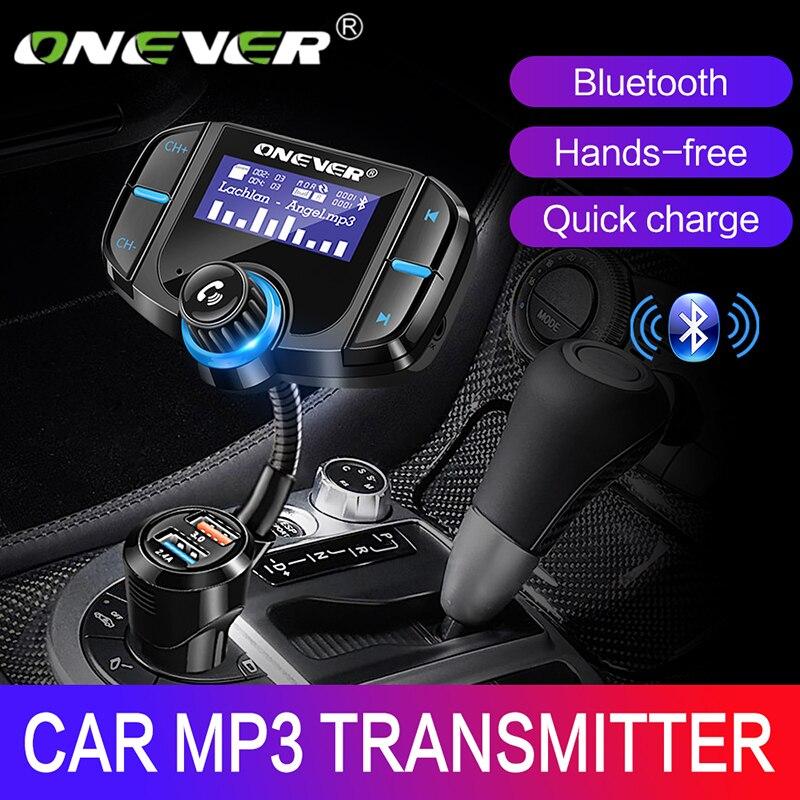 ONEVER FM передатчик Bluetooth fm модулятор 2 Порты и разъёмы Quick Charge 3.0 Зарядное устройство громкой связи car kit 1.65
