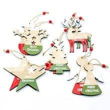 10pcs Vintage Christmas Wooden Pendants Ornaments Diy Wood Crafts Xmas Tree Party Decorations Kids Gift