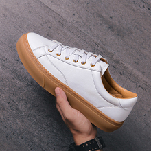 Brand Men Casual Shoes Autumn Fashion Sneakers Leather Footwear Soft Rubber Men Flats Shoes Mens Shoes Sales Black White цены онлайн