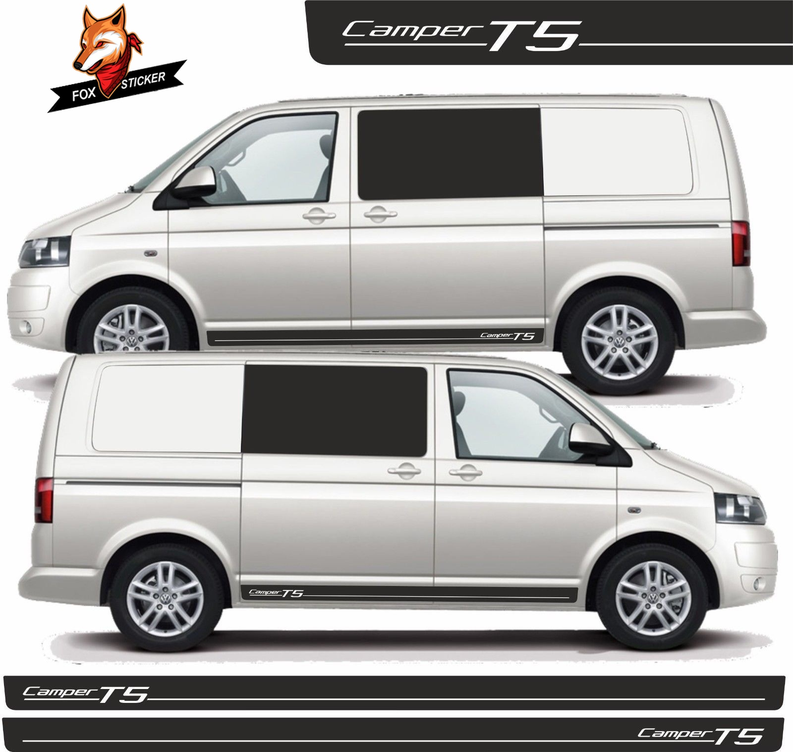 Car Body Side Sticker Stripes SWB Graphics Decals Stickers Auto Sport Styling Vinyl Car Sticker for <font><b>VW</b></font> Transporter Camper <font><b>T5</b></font> image