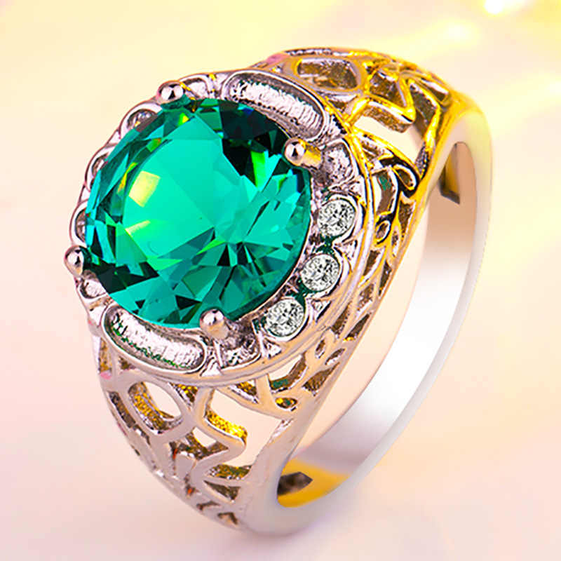 קלאסי ירוק אבן נשי יפה אירוסין טבעת CZ חתונה ירוק גדול זירקון מגזרת CZ טבעת נקבה פסיפס תכשיטים