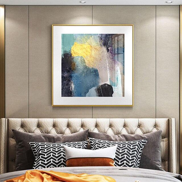 Abstrait marbre toile impression peintures bleu clair violet affiche nordique mur Art photos sur toile salon bureau décor à la maison
