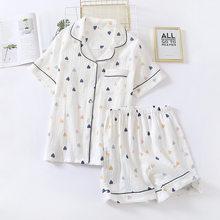 Japonês verão novas senhoras algodão gaze manga curta shorts pijamas terno bonito em forma de coração seção fina casa serviço terno mulher