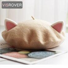 VISROVER 2019 new unisex kid beret cute cat shape hat winter cap autumn Punk